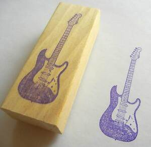 Musical Instrument Rubber Stamp - Fender Electric Guitar