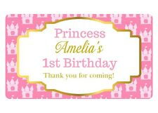 10 LARGE PERSONALISED GLOSSY PRINCESS BIRTHDAY PARTY BOX LOOT STICKERS