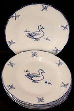 Cordon Bleu Duck 4 Dinner Plates GREAT CONDITION Blue & White
