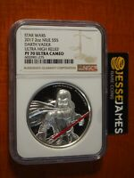 2017 $5 NIUE PROOF SILVER DARTH VADER STAR WARS NGC PF70 ULTRA CAMEO HR 2 OZ