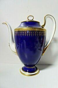 AYNSLEY PORCELAIN COBALT BLUE GILT COFFEE POT  TEAPOT B3835