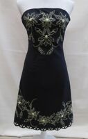 Jane Norman black/colour trim strapless with stretch lined dress Size 10