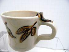 Handmade Studio Art Ceramic Mug Forest Leaf Embossed Design Artist Signed 2012