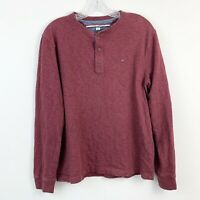 Tommy Hilfiger Red Sweater Shirt Long Sleeve Knit Henley Mens Size Medium