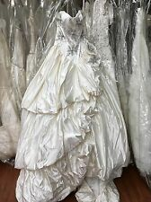 ST.PUCCHI by Rani,Bridal Gown,DRESS,#9376,SZ 10,SILK,floral,ivory+silver,NEW!14