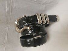 VTG ESCADA Black Patent Croc Embossed Leather Belt, Silver, Triple Keeper sz 40