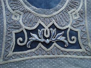 antique edwardian silk embroidered dress top appliques front + back
