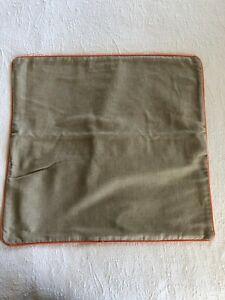 "POTTERY BARN PB Pillow Cover Sham Natural Linen/Cotton Orange Piping 20""x20"""