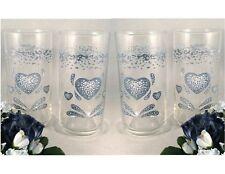 4 Corelle BLUE HEARTS 16-oz Tumbler GLASSES Cooler Iced Tea Drinkware *NEW BOX