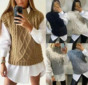 Womens Cable Knitted Vest Ladies Sleeveless Jumper Sweater High Neck Tank Top UK