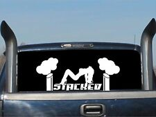 "Roll Coal Diesel Stacked / WHITE / 24"" Vinyl Truck Graphics Mudflap Girl Decal"