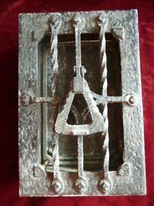 Antique Iron Door Knocker Peep Hole Hatch Architectural Speakeasy Safety Window