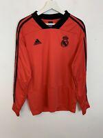Men's Adidas Real Madrid Long Sleeve Training Shirt Top Tee Red UK Size L Large