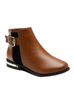Womens Chelsea Boots Size 8 Wide Fit Low Block Heel Ankle Zip Buckle Tan NEW