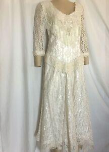 Ivory, Western, Fringe, Handkerchief Hem, Wedding Dress, Size 6,8
