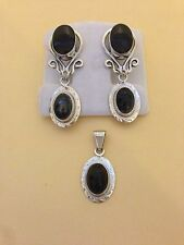 925 Sterling Silver & Black Onyx Set of Pendant and Earrings, approx. 21.9 grams
