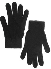 Knit Wool Blend Men's Gloves, Black, One Size. Made in Russia