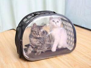 Cat Holdall Bag Carrier Clear Black Portable Dog Pet Puppy Travel Transport