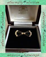 Vintage Jewellery Geometric Black Enamel Bow ArtDeco Pierre Bex Style Brooch Pin