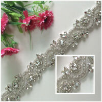 White Ribbon Sash Bridal Wedding Dress Rhinestone Vintage Beaded Crystal Belt