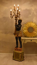 Negro Lámpara Barroco de Pie Escultura 190cm Iluminación Izquierda
