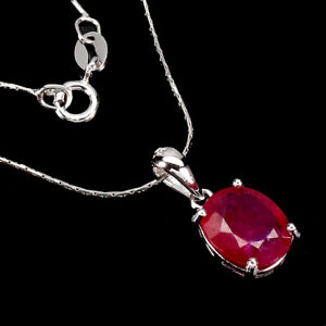 Oval Red Ruby 10x8mm 14K White Gold Plate 925 Sterling Silver Necklace 16 Ins