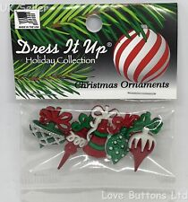 DRESS IT UP 'CHRISTMAS ORNAMENTS' BUTTONS TRADITIONAL BAUBLES BELL GLITTER 7475