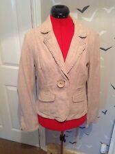 "Stylish Next Inen/ cotton blend jacket, frill edging 12, 40, 22""L worn once VGC"