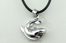 Pick A Pearl Cage Silver Shark Jaws Sharknado Black Cord Necklace Black Pearl