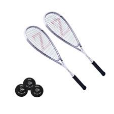 Zateq Fighter 150 squashset/2 x bate + 3 x Dunlop pro pelotas