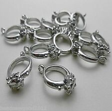 10 ANTIQUE SILVER TONE 3D ENGAGEMENT RING PENDANT CHARMS 17mm Wedding