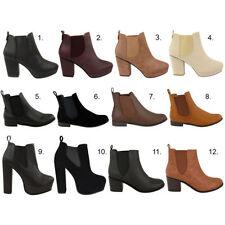 Nuevas señoras para mujer Plana bajo alto talón elástica Tobillo Chelsea Botas Zapatos Talla
