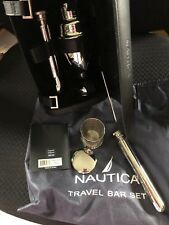 Nautica 8 Pc Travel Bar Set  2 Tubes 3 Pc Shaker 2 Collapsible Cups Case ETC.
