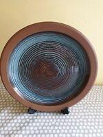 Vintage Studio Pottery Blue  & Brown Glazed Dinner Plate.