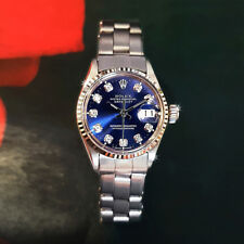 ROLEX OYSTER PERPETUAL DATEJUST LADIES AUTOMATIC SS BLUE DIAL DIAMONDS WATCH