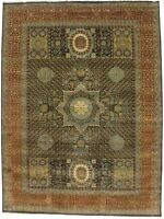 Charcoal Geometric Transitional Hand-Knotted 9X12 Mamluk Wool Oriental Area Rug