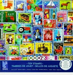NEW Ceaco Toy Stamps 1000 Pc Jigsaw Puzzle Postage Classic Toys Comes W/ Poster