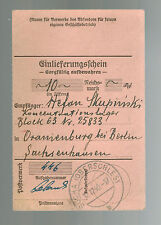 1940 Germany SAchsenhausen Concentration Camp money order Receipt KZ S Skupinski
