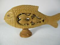 Carved WOODEN Fish Decorator with Small Fish Carved Inside Collectible Decorator