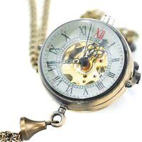 Antique Skeleton Mechanical Big Glass Ball Necklace Pendant Pocket Watch P100