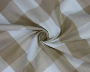 Beige And White Large Gingham Cotton Checkered Fabric - Width 140CM