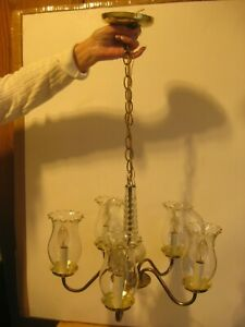 VINTAGE-COMPLETE (5) LIGHT CHANDELIER W/THUMB PRESS GLOBES & CUT GLASS CENTER