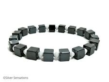 Hematite Cube Beads Unisex Bracelet & Bright White Swarovski Crystals