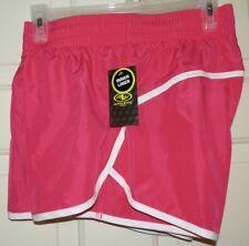 New Womens Medium 8-10 Pink Running Shorts Athletic Works Inner Liner White Trim