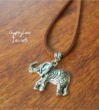 Jungle Elephant ♡ Pendant Leather Necklace Thai Bali Festival Hippie Chang
