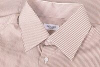 NWT Taccaliti (Maker of Canali) Size US 42 16.5 White Brown Stripe Dress Shirt