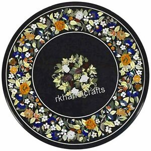 Floral Border Art Inlaid Island Table Top Marble Coffee Table for Home 30 Inches