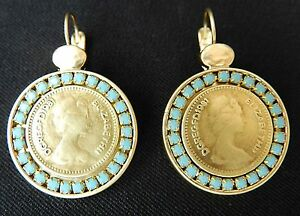 Queen Elizabeth Coin Yellow Gold Plated 24k Dangle Earrings Turquoise Stone