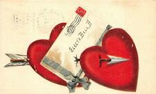 VALENTINE HEARTS LOVE LETTER STAMP ELECTA BALL MARION INDIANA POSTCARD 1908