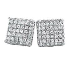 Hip Hop 3D Square Rhodium Cz Bling Bling Earrings Iced Out Ear Jewelry